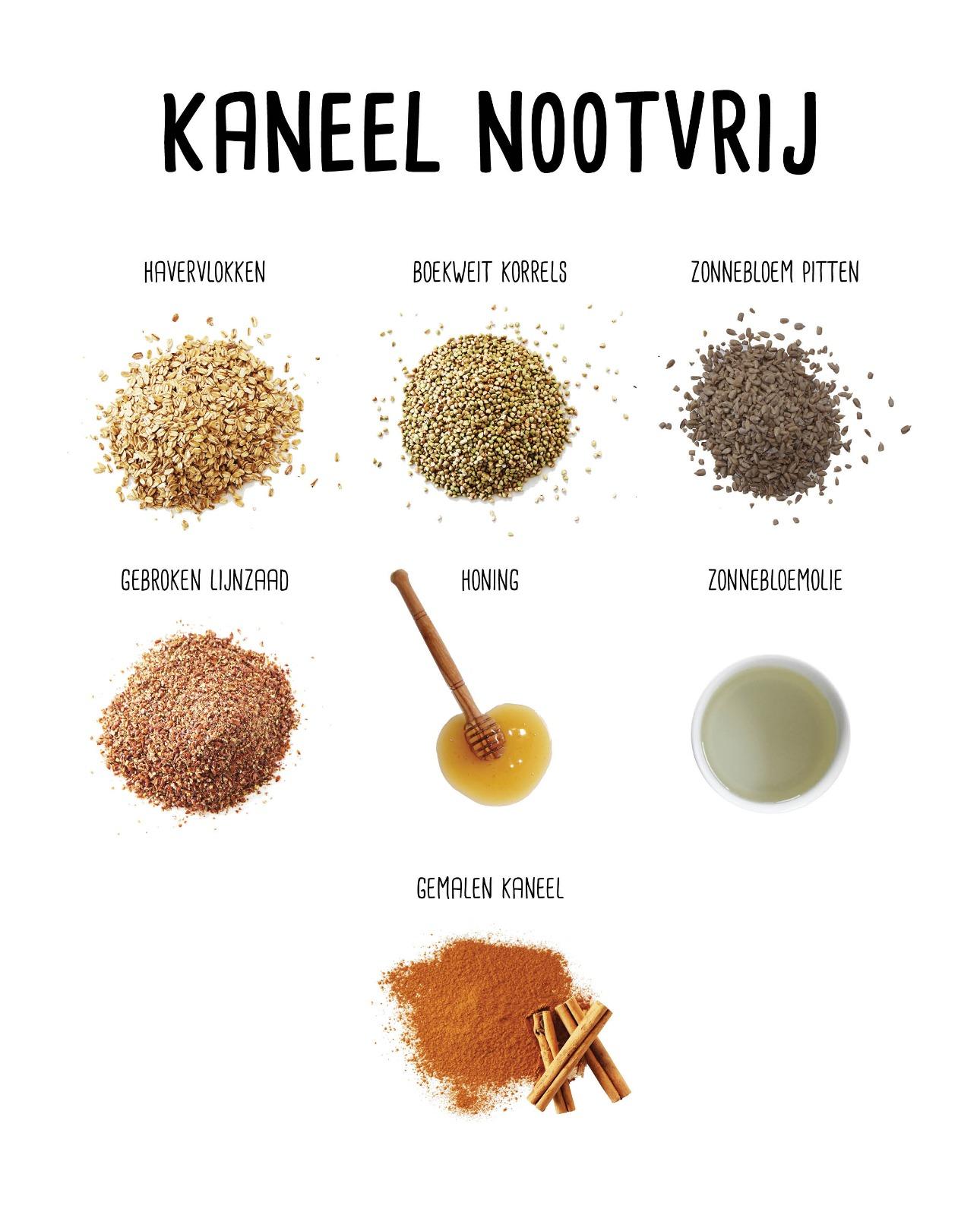 Ingrediënten Kaneel Nootvrij Granola